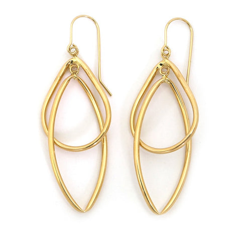 "14k Yellow Gold Overlapping Teardrop and Oval Dangle 2"" Earrings"
