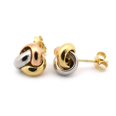 14k White, Yellow and Rose Gold Tri-Tone Love Knot Earrings