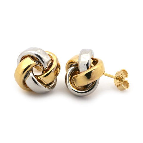 14k White and Yellow Gold Large Two-Tone Love Knot Earrings