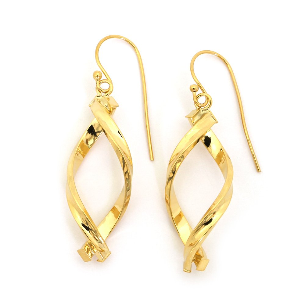 "14k Yellow, White or Rose Gold 1.8"" Overlapping Freeform Dangle Earrings"