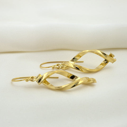 "14k Yellow Gold 1.8"" Overlapping Freeform Dangle Earrings"