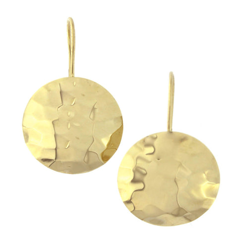 14k Yellow Gold 16mm Hammered Round Disc Circle Dangle Earrings