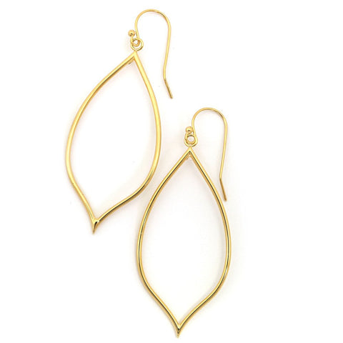 "14k Yellow Gold 2.5"" Tubed Open Pointed Oval Long Dangle Earrings"