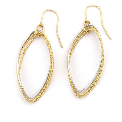 "14k White and Yellow Gold 2.2"" Two-Tone Diamond Cut and Polished Large Oval Dangle Earrings"