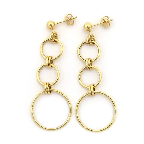 "14k Yellow Gold 2"" Long Graduated Open Circles Dangle Earrings"