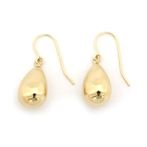 14k Yellow Gold Polished Shiny Teardrop Dangle Earrings
