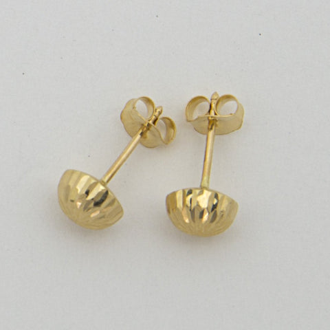 14k Yellow Gold 6mm Diamond Cut Half Ball Stud Earrings