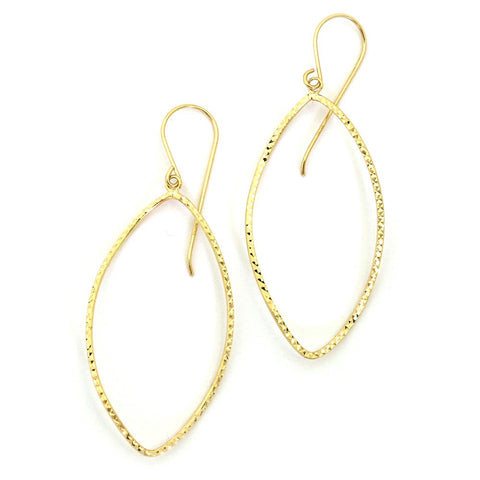"14k Yellow Gold 2"" Diamond Cut Twisted Open Oval Long Dangle Earrings"