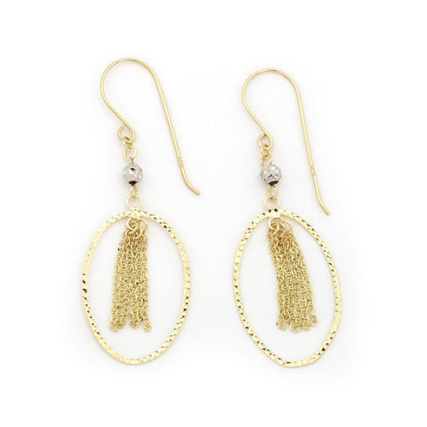 "14k White and Yellow Gold Diamond Cut Ovals with Tassels Dangle 1.7"" Earrings"
