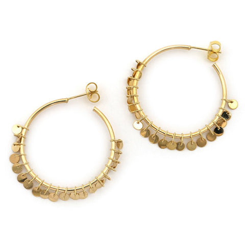 "14k Yellow Gold 1.3"" Open Hoop Earrings with Dangling Discs Fringe"
