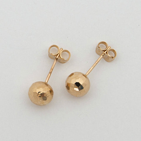 14k Rose Gold 7mm Diamond Cut Ball Stud Earrings