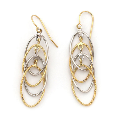 "14k White and Yellow Gold Two-Tone Multi-Layer Twisted Ovals Dangle 1.9"" Earrings"