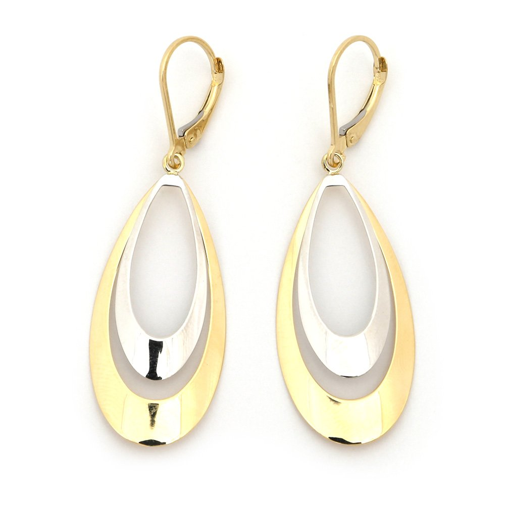"14k White and Yellow Gold 2"" Two-Tone High Polished Graduated Oval Dangle Earrings"