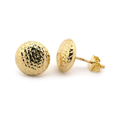 14k Yellow Gold Diamond Cut Button Earrings