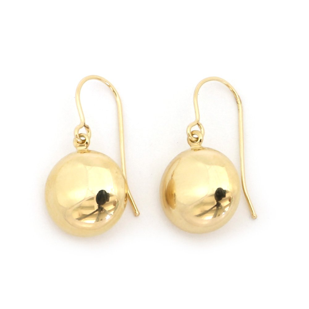 14k Yellow Gold Polished Flat Circle Dangle Earrings