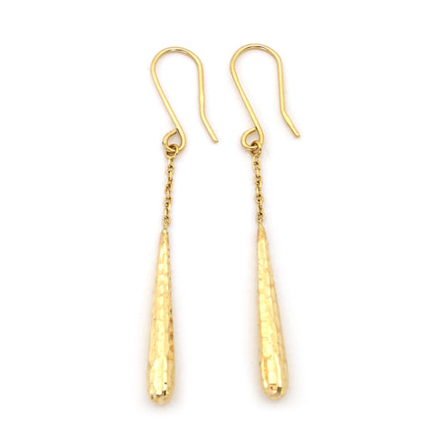 "14k Yellow Gold 2"" Long Diamond Cut Drop on a Chain Long Dangle Earrings"