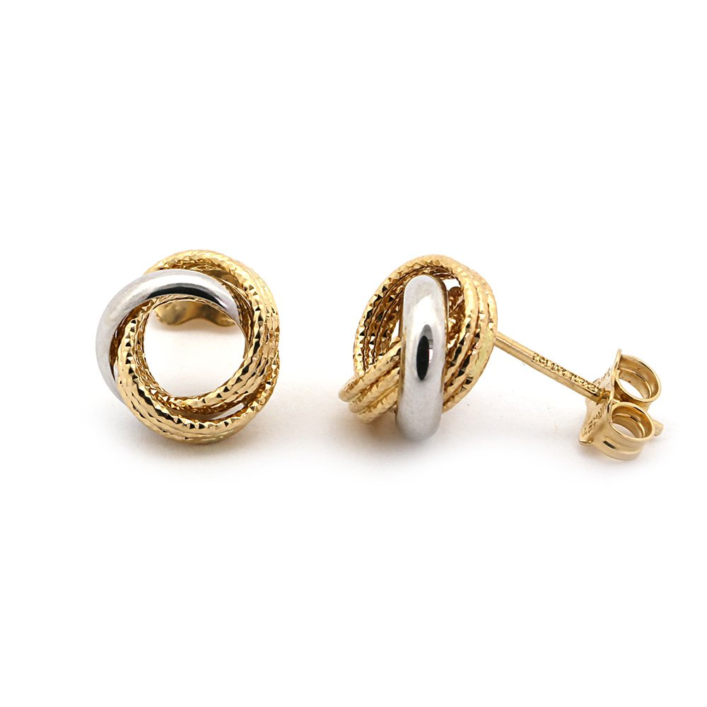 14k White and Yellow Gold Two-Tone Diamond Cut Twisted Circle Earrings