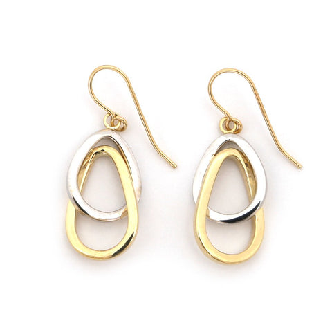 "14k White and Yellow Gold 1.1"" Two-Tone Interlocking Teardrops Dangle Earrings"