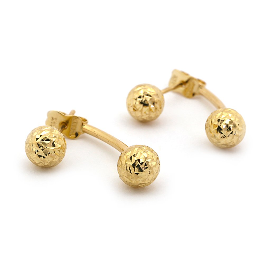 14k Yellow Gold Diamond Cut Ball Stud Earrings with Jacket