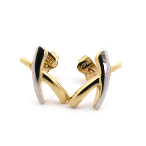 "14k White and Yellow Gold Two-Tone""X"" Criss Cross Stud Earrings"
