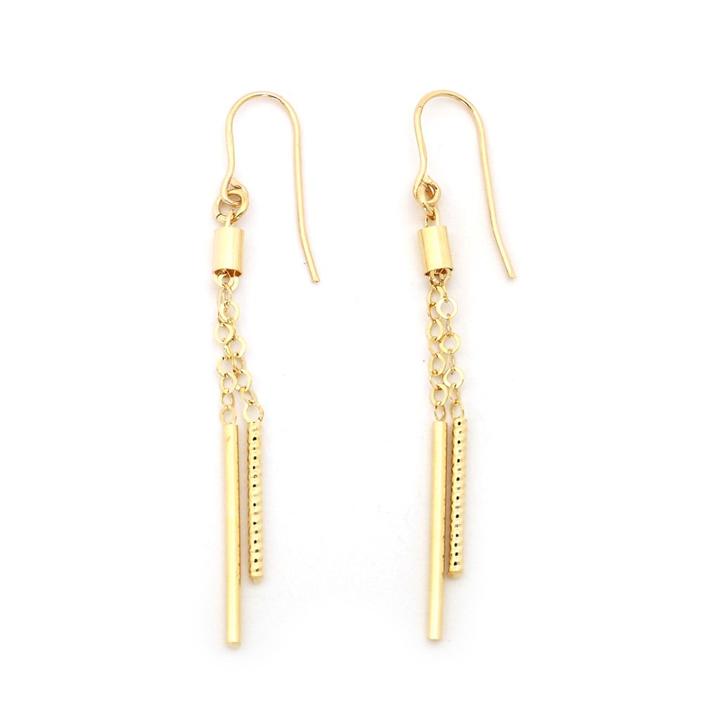 "14k Yellow Gold 2.2"" Long Diamond Cut Vertical Bars on Chains Dangle Earrings"