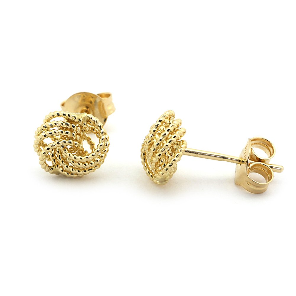 14k Yellow Gold Diamond Cut Rope Love Knot Earrings