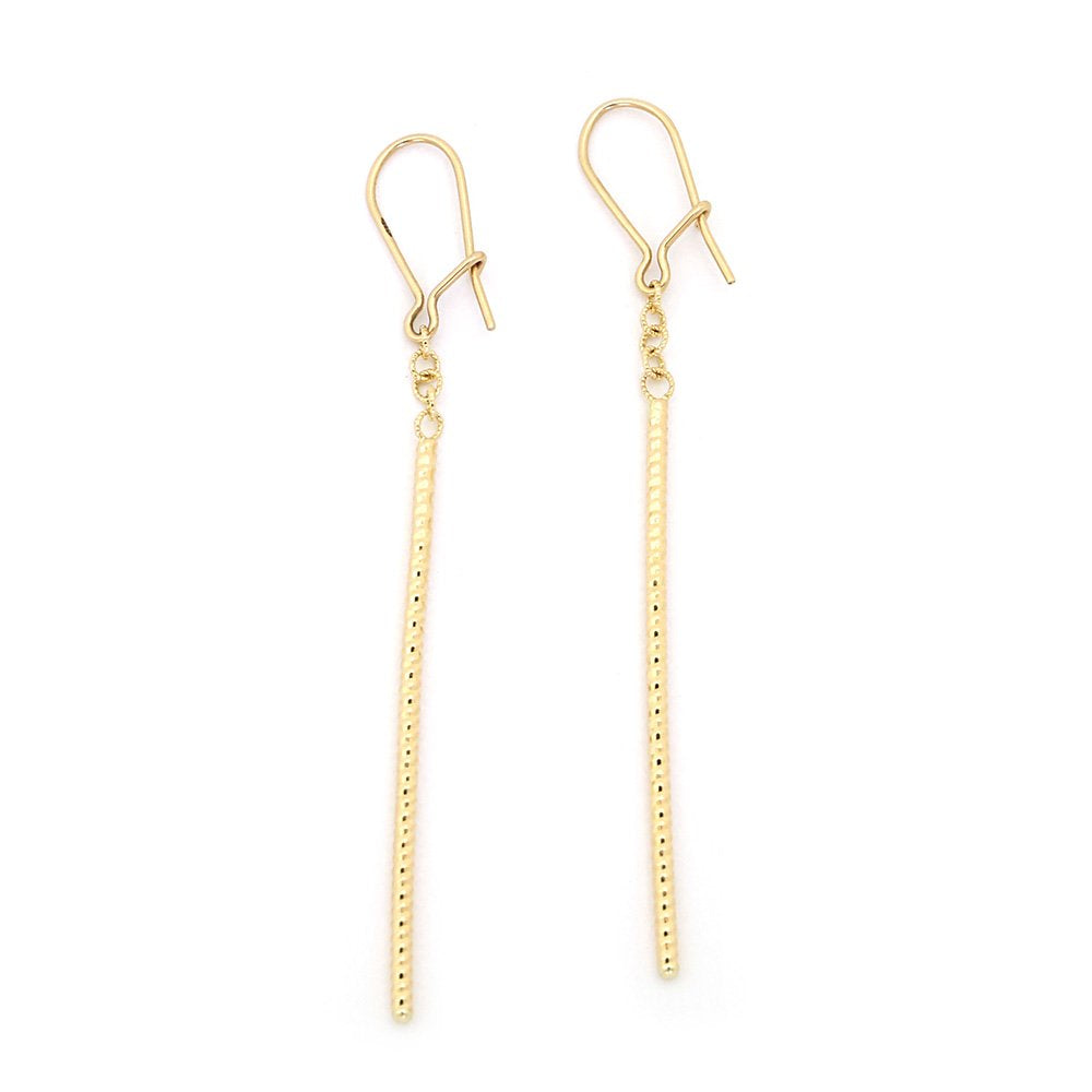"14k Yellow Gold 2.5"" Very Long Diamond Cut Vertical Bar Dangle Earrings"