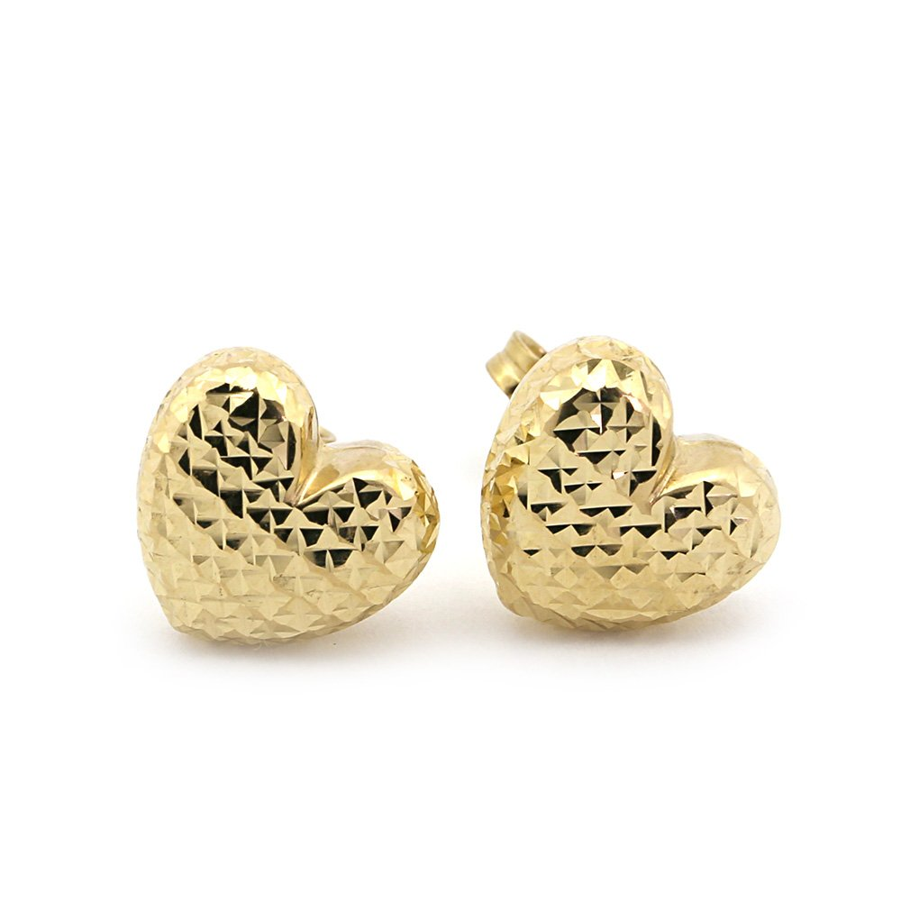 14k Yellow or White Gold Diamond Cut Heart Stud Earrings