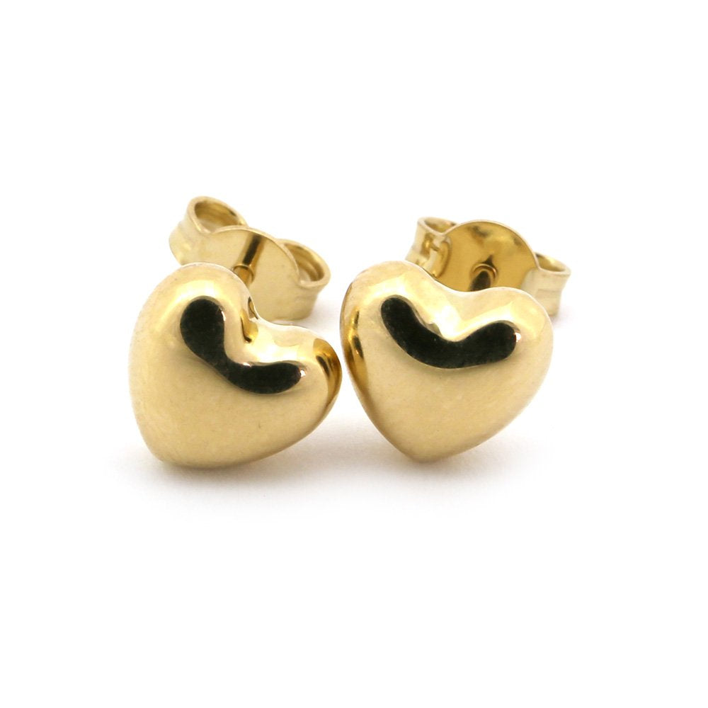 14k Yellow, White or Rose Gold Small Heart Stud Earrings