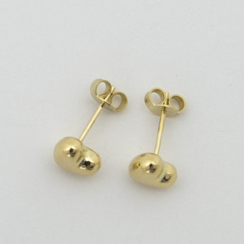 14k Yellow Gold Small Heart Stud Earrings