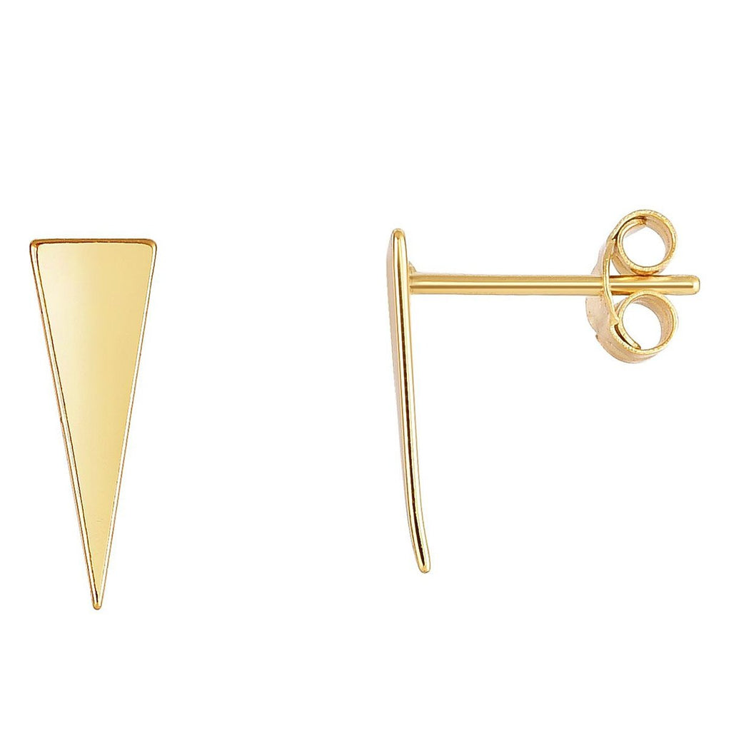 14k Yellow Gold Triangle Stud Earrings