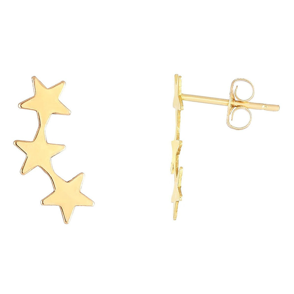 14k Yellow Gold Stars Ear Climber Stud Earrings