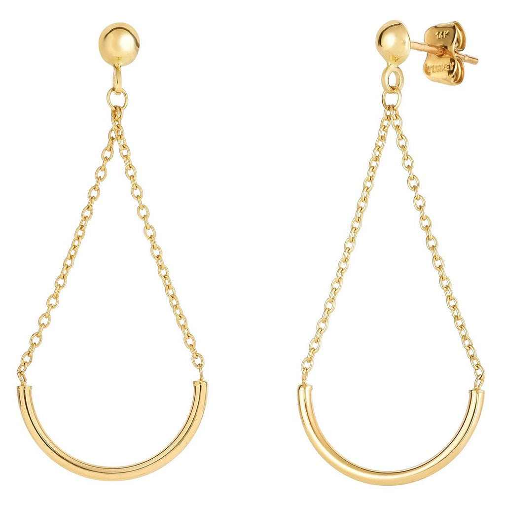 14k Yellow Gold Curved Chain Dangle Stud Earrings