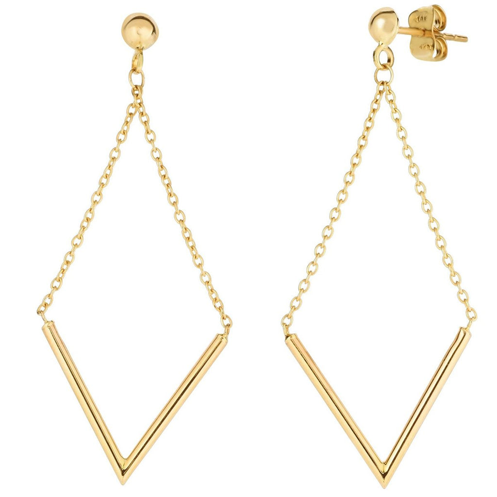 14k Yellow Gold Pointed Chain Dangle Stud Earrings