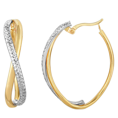 14k Yellow and White Gold Two-Tone Diamond Cut Infinity Hoop Earrings