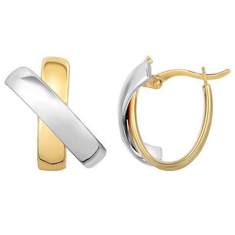 "14k Yellow and White Gold Two-Tone""X"" Huggie Hoop Earrings"