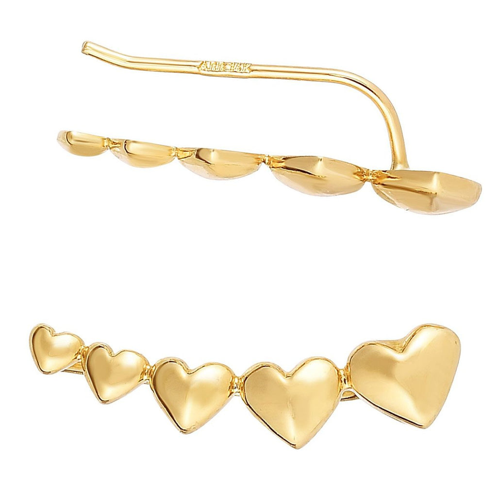 14k Yellow Gold Hearts Ear Climber Earrings