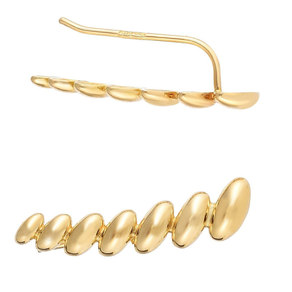 14k Yellow Gold Drops Ear Climber Earrings