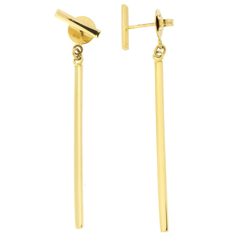 14k Yellow Gold Dangling Bar Stud Earrings