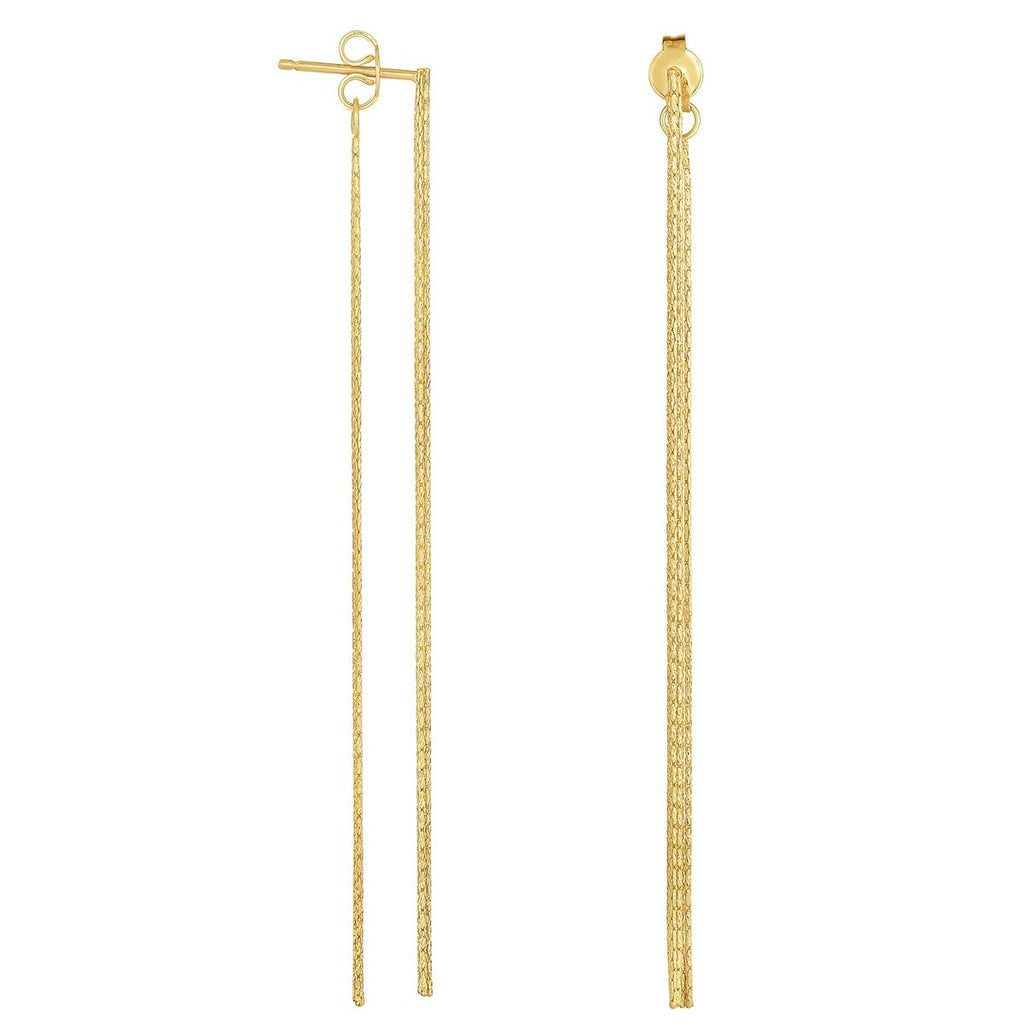 14k Yellow Gold Tassel Dangle Earrings