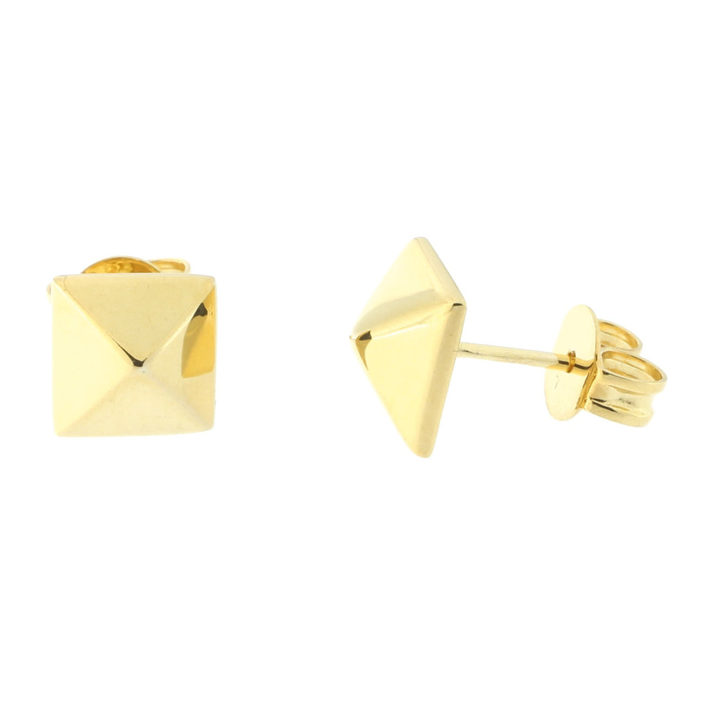 14k Yellow Gold Pyramid Stud Earrings
