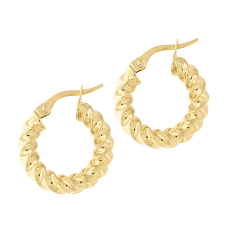 14k Yellow Gold Twisted Hoop Earrings, 17.5mm