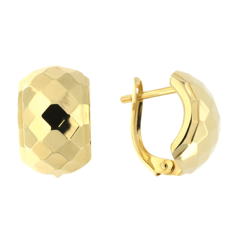 14k Yellow Gold 10mm Large Diamond Cut Huggie Earrings