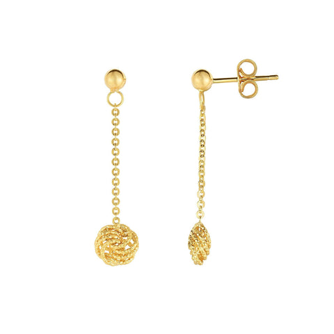 14k Yellow Gold Piatto Chain Diamond Cut Love Knot Dangle Earrings