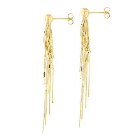 14k Yellow Gold Ball Multi-Strand Layered Chain Tassel Dangle Earrings