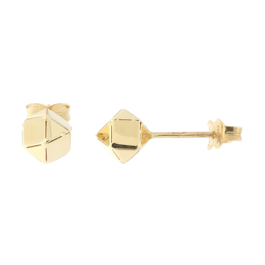 14k Yellow Gold Geometric Ball Stud Earrings