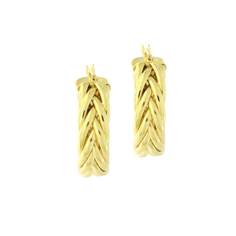 14k Yellow Gold High Polished Braided Hoop Earrings, 20mm