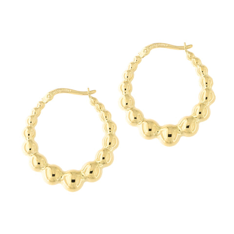 14k Yellow Gold Fancy Graduated Bubble Door Knocker Hoop Earrings, 23mm