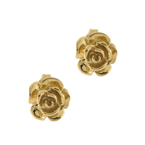 14k Yellow Gold Flower Rose Stud Earrings