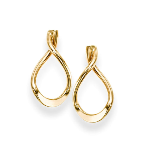 14k Yellow Gold Twisted Open Infinity Teardrop Drop Earrings